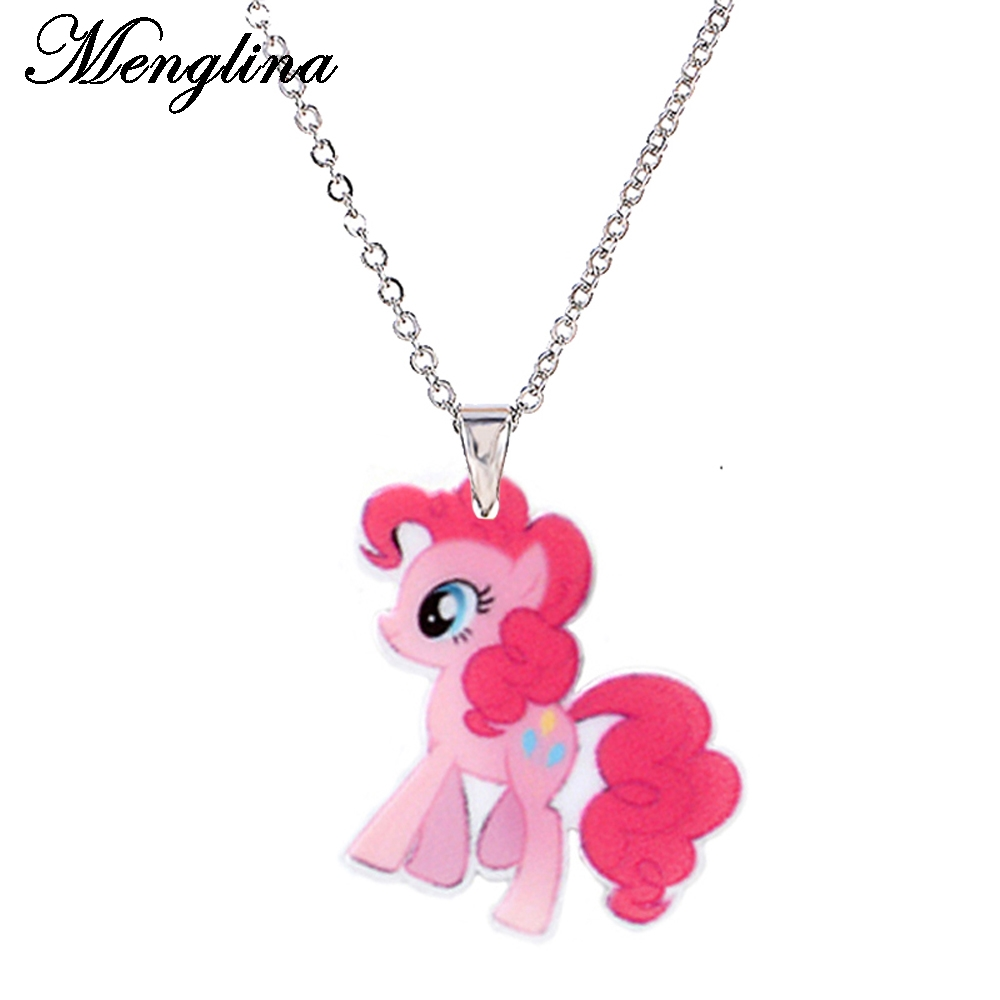 Menglina Fashion Cartoon Cute Horse Acrylic Pendant Necklace