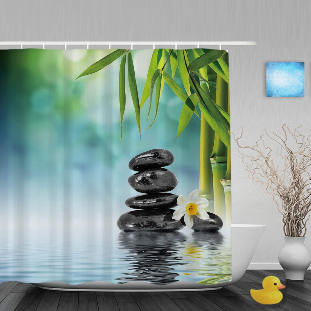 Lakeside Scenery Shower Cutains Stone Daisy Flower Bamboo Decor Bathroom Shower  Curtains Polyester Waterproof Fabric With Hooks