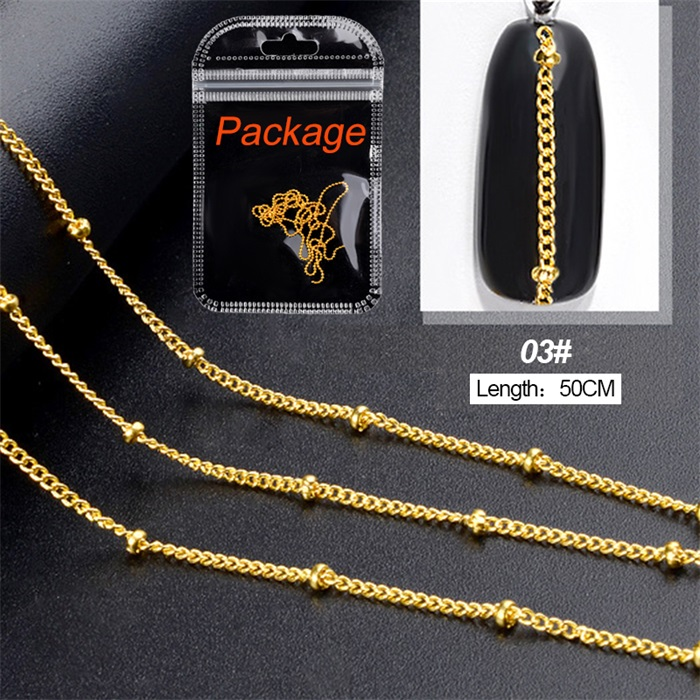 3D металлические украшения для нейл-арта, золотая металлическая цепочка, бисер, линия, много размеров, змеиная кость, сделай сам, украшение для маникюра, нейл-арта, 1 коробка - Цвет: 462543