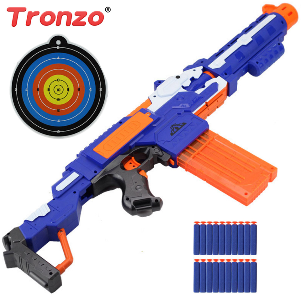 Tronzo 1Pcs Electronic Toy Machine Gun Soft Bullets Outdoor Cs Game Toy Guns Police Role Play Toy Halloween Gift For Chidlren
