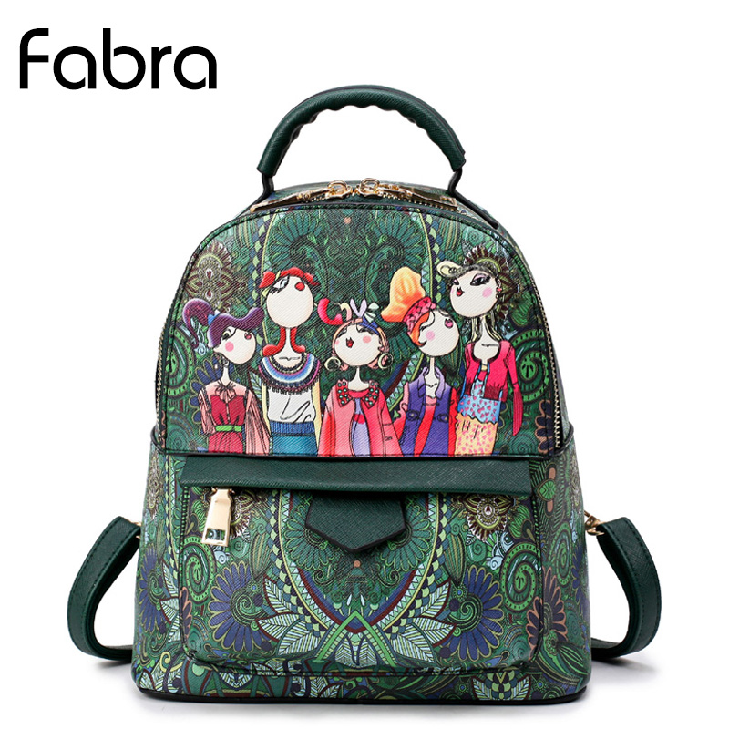 Fabra Women Cute Cartoon Pu Leather Backpacks Fashion Small Shoulder Bags College School Daily Backpack For Teenagers Daypacks fabra women cute cartoon pu leather