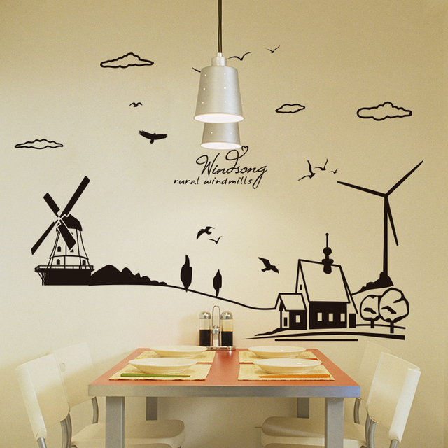 shijuehezi] black clouds house windmill wall sticker vinyl home