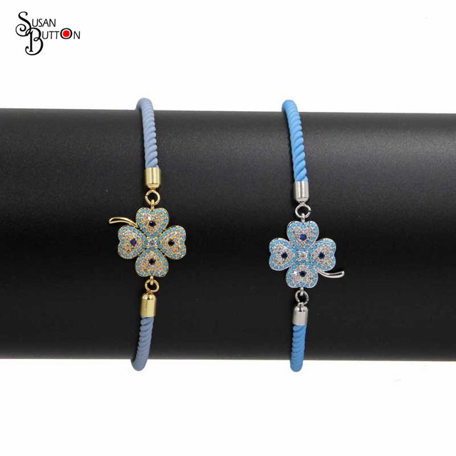 Bangle Bracelet Jewelry Authentic Cubic Zircon Four Leaf Clover Charms  Bracelet Adjustable Rope Chain Charms Women Bracelet fa7e53fd0e5a