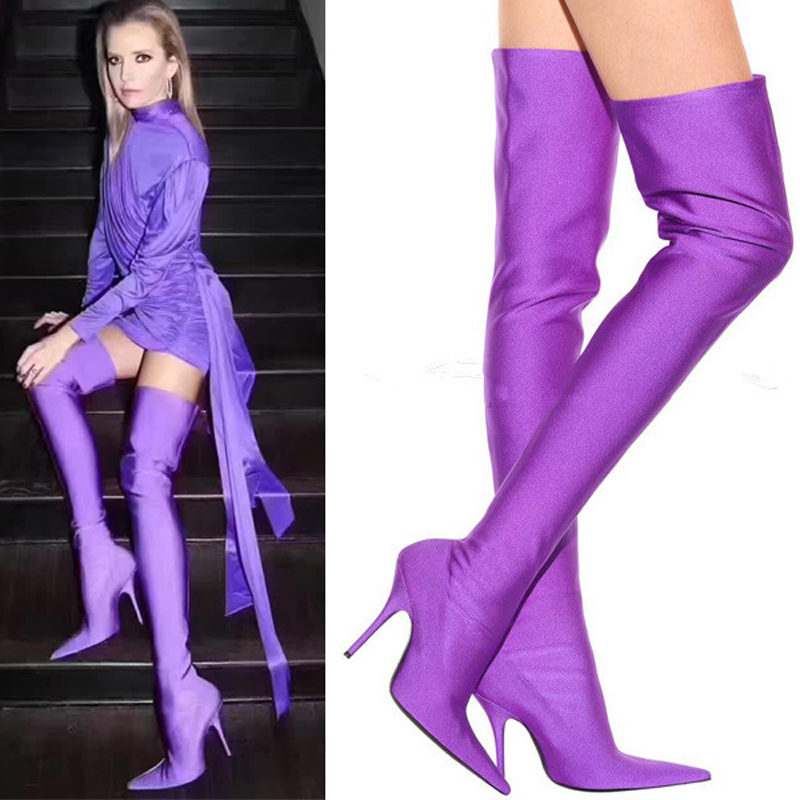Spring Autumn Silk Elastic Over the Knee Boots Women Stiletto Heel Thigh High Botas Mujer Candy Color Wedding Party Dress Shoes spring autumn silk elastic over the knee boots women stiletto heel thigh high botas mujer candy color wedding party dress shoes