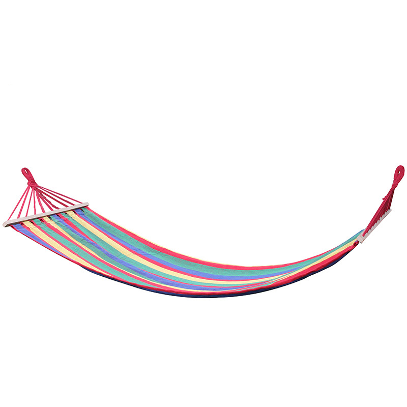 Portable Canvas Fabric Single Person Outdoor Furniture Hammock Double Spreader Bar Hammock Outdoor Camping Swing Hanging Bed single person hammock canvas thicken camping indoor and outdoor travel furniture swing go to bed colorful easy to fold carry
