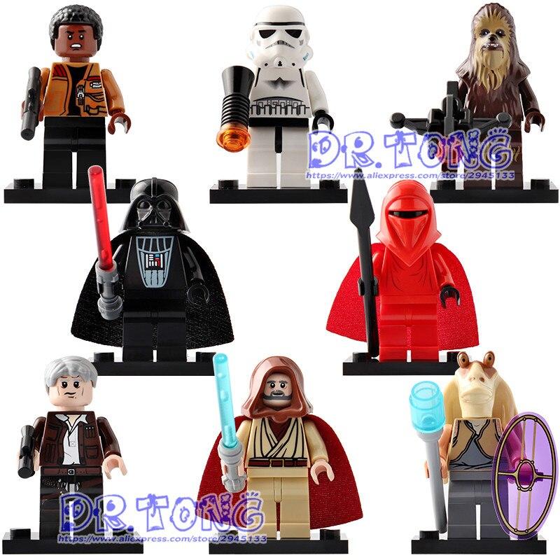 все цены на Single Sale C015-C022 Starwars Darth Vader Han Soio Renobi Finn Chewbacca Jar Jar Binks Building Blocks Children Gift Toys онлайн