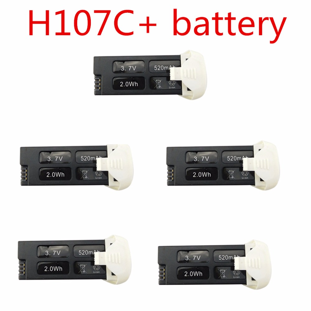 Helicopter <font><b>Battery</b></font> Parts UAV Parts <font><b>Battery</b></font> For 5PCS Hubsan X4 H107C + <font><b>3.7V</b></font> <font><b>520mah</b></font> image