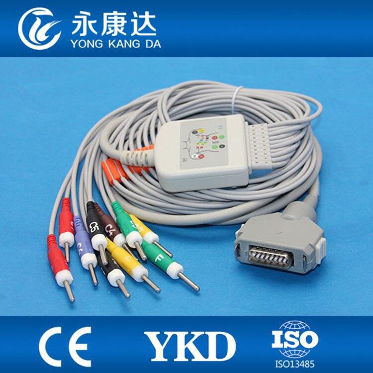 Fukuda Denshi FX-7102 Ekg Cable CardiMax FX-7101 FX-7202 FX-7402 FX-2111 FCP-2155 With 10lead Ecg Cable IEC Din 3.0
