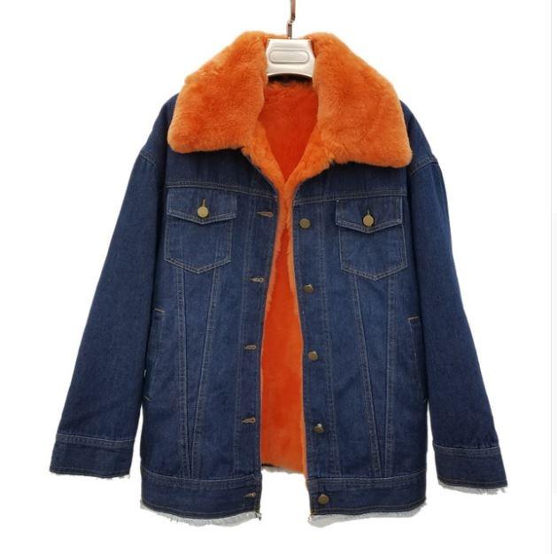 Новая модная уличная одежда Женская Толстая джинсовая куртка съемная подкладка из натурального кроличьего меха и меховой воротник большие зимние парки - Цвет: C2
