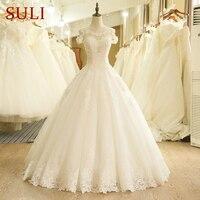 SL 204 A Line Off The Shoulder Sleeve Lace Appliques Beach Wedding Dress 2017