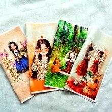 Zengia 23.5x23.5cm linda floresta menina impressão mão tingida tecido para retalhos tela de lona decorativa para sacos/pintura/decoração