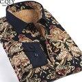 De alta Calidad Para Hombre Camisas Florales de Invierno Slim Fit de Manga Larga Casual Engrosamiento de Vellón de Impresión Camisa de Los Hombres Elegantes Camisas Flor Grande
