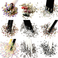 Glitter Rhinestones Mix Colors Crystal AB SS3 SS20 Non Hot Fix FlatBack Strass Sewing Fabric Garment Nail Art DIY Rhinestone