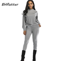 BHflutter Women Jumpsuits Long Sleeve Casual Rompers Winter Clothing 2017 Vintage Overalls Two Pieces Tops and Long Pants 2017