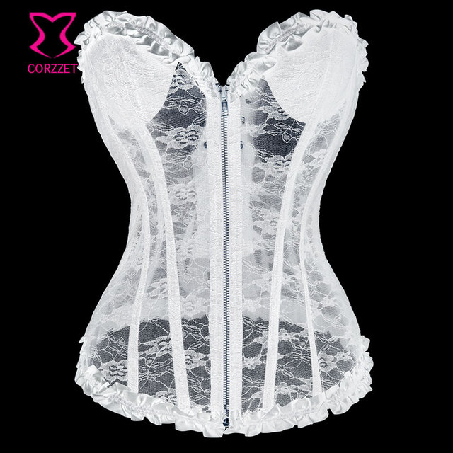 f091a94b25 Embroidery Padded Cup White Lace Corset Sexy Gothic Bustier Top Bridal  Corpetes Zipper Push Up Corsets