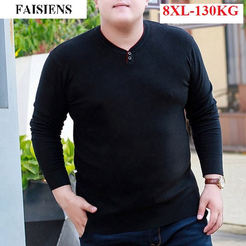 FAISIENS Large Size 4XL 5XL 6XL V Neck Long Sleeve Men's Sweaters 7XL 8XL Plus Size Loose Blue Black Winter Warm Knitted Sweater