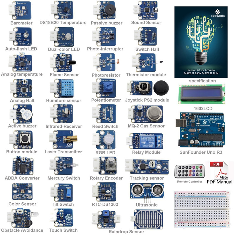 SunFounder Ultime UNO R3 Capteur Kit V2.0 pour Arduino UNO R3 Mega2560 Mega328 Nano