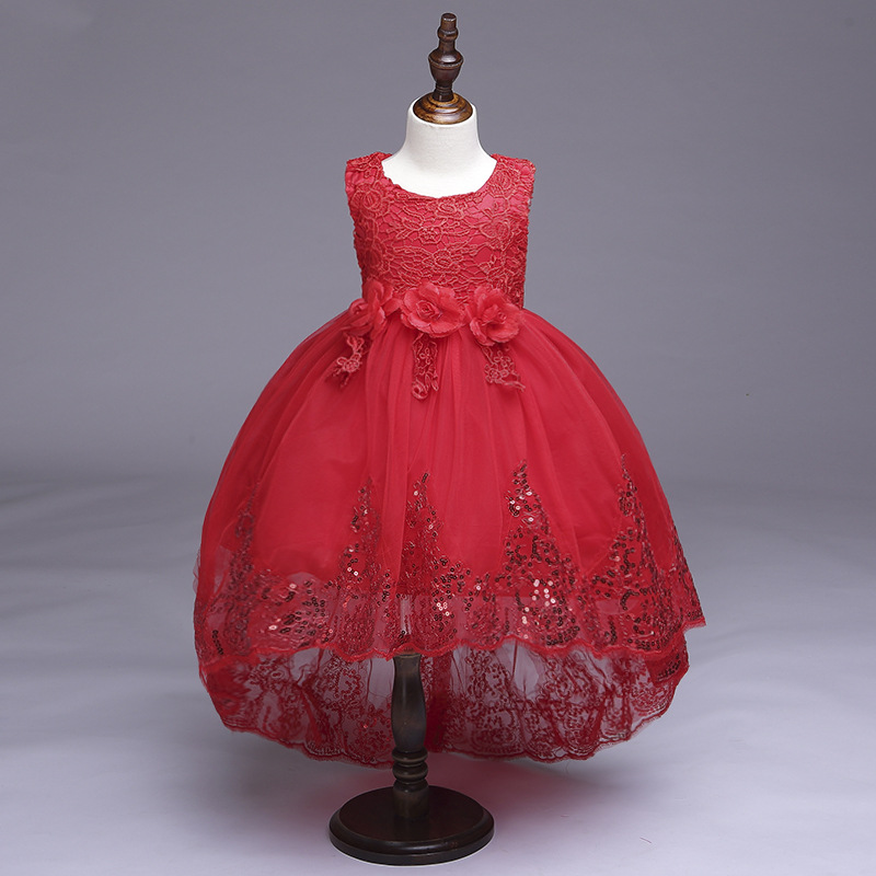 Baby Girls Elegant Lace Dresses Children Satin Kids Long Tail Sequined Evening Gown Party Wedding Christmas Birthday Costume