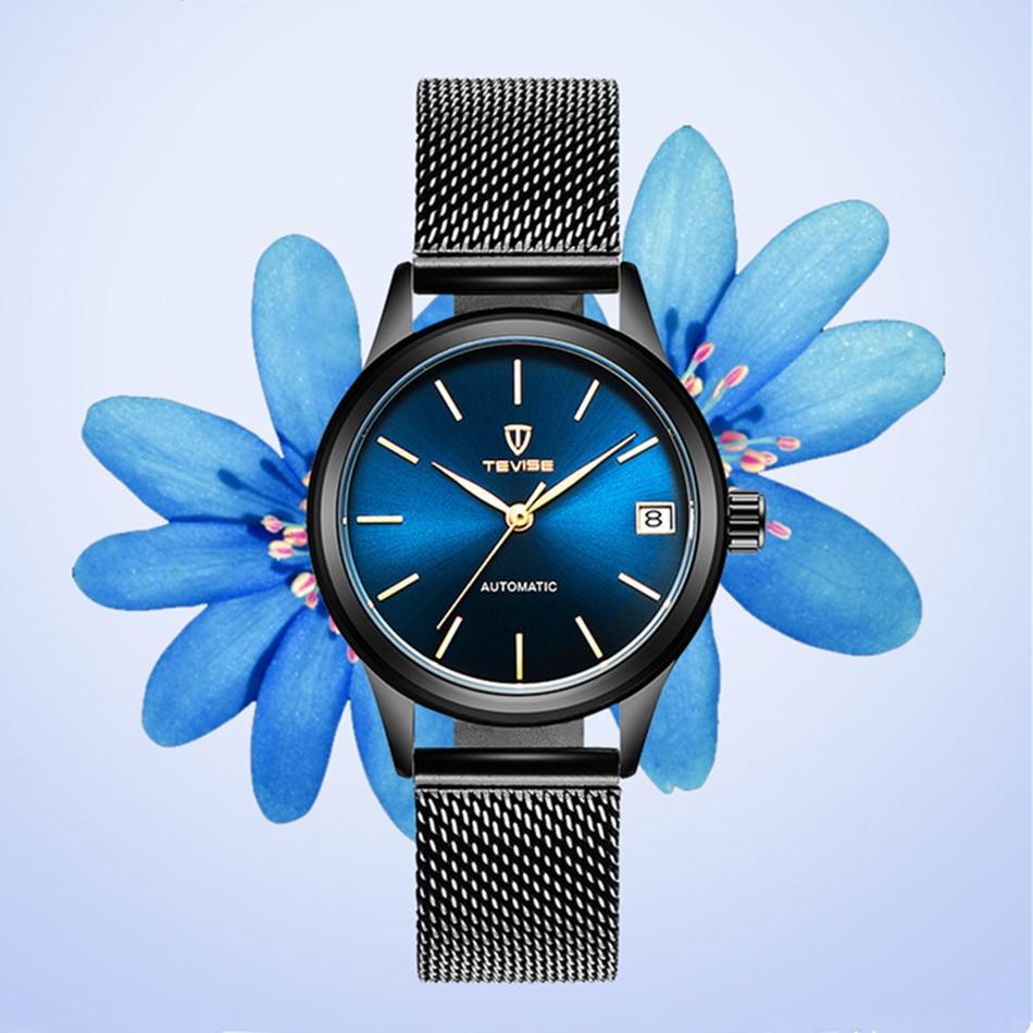 2018 TEVISE Women Watches Automatic Mechanical Bracelet Watch Ladies Waterproof Steel Dress Wrist Watches For Women Montre Femme