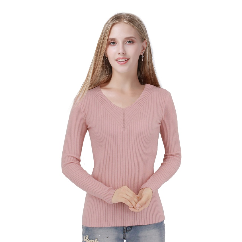 2017 New Fashion Style Slim Sweater Thin V-neck Long-sleeved Solid Color Knit Sweater Shirt Sexy Women Long Sleeve Knit Pullover