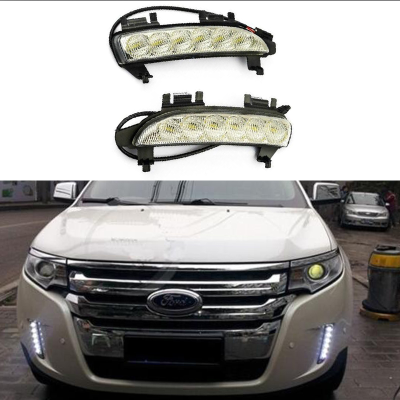 Car lamp LED Daytime Running Light DRL with turn signals For Ford EDGE 2009 2010 2011 2012 2013 2pcs per set hireno super bright led daytime running light for ford raptor f150 f 150 2010 2011 2012 2013 2014 car led drl fog lamp 2pcs