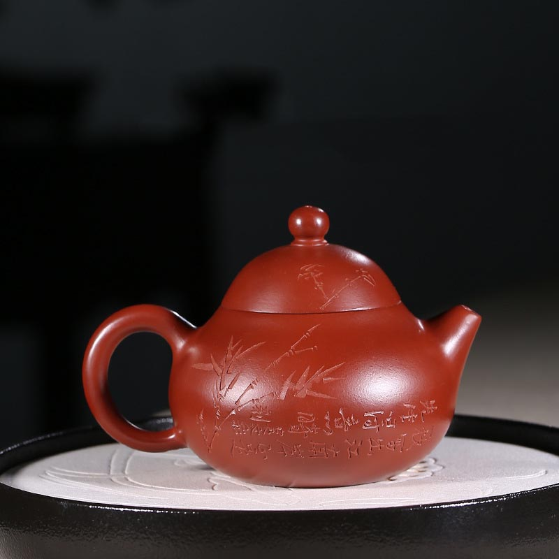220ml Authentic Yixing Purple Clay Pot Engraving Bamboo Pattern Dahongpao Mud Zisha Teapot Household Drinkware Decoration Crafts220ml Authentic Yixing Purple Clay Pot Engraving Bamboo Pattern Dahongpao Mud Zisha Teapot Household Drinkware Decoration Crafts