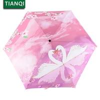 Quality Folding Pink Swan Rain Umbrella Women Anti-uv Protection Sunscreen Windproof Ultra-light Small Fresh Parasol