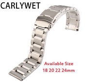 18 20 22 24mm New Man Silver Brushed Solid Stainless Steel Bracelet Watch Band Strap Belt