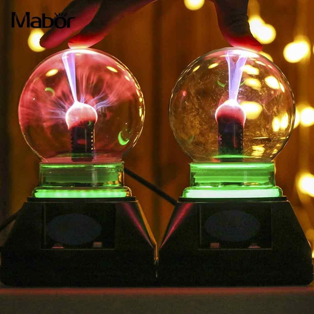 Волшебный кристаллический глобус, плазменный шар, 4 дюйма, штепсельная вилка ЕС 220 В, молния, домашний декор, сфера, ночная лампа, настольная музыка, волшебный кристалл, свет