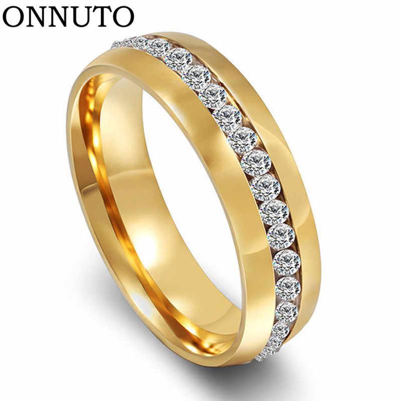 ใหม่แฟชั่น Handmade Gold สแตนเลสผู้หญิงแต่งงานวง Promise แหวนแหวนคริสตัล 6 มม.