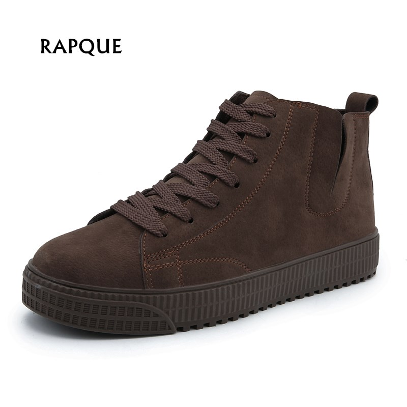 Men Boots Shoes leather Autumn Winter shoes Comfortable male casual Ankle Boots Elastic band Lace-Up plus size 39-47 men s leather shoes vintage style casual shoes comfortable lace up flat shoes men footwears size 39 44 pa005m