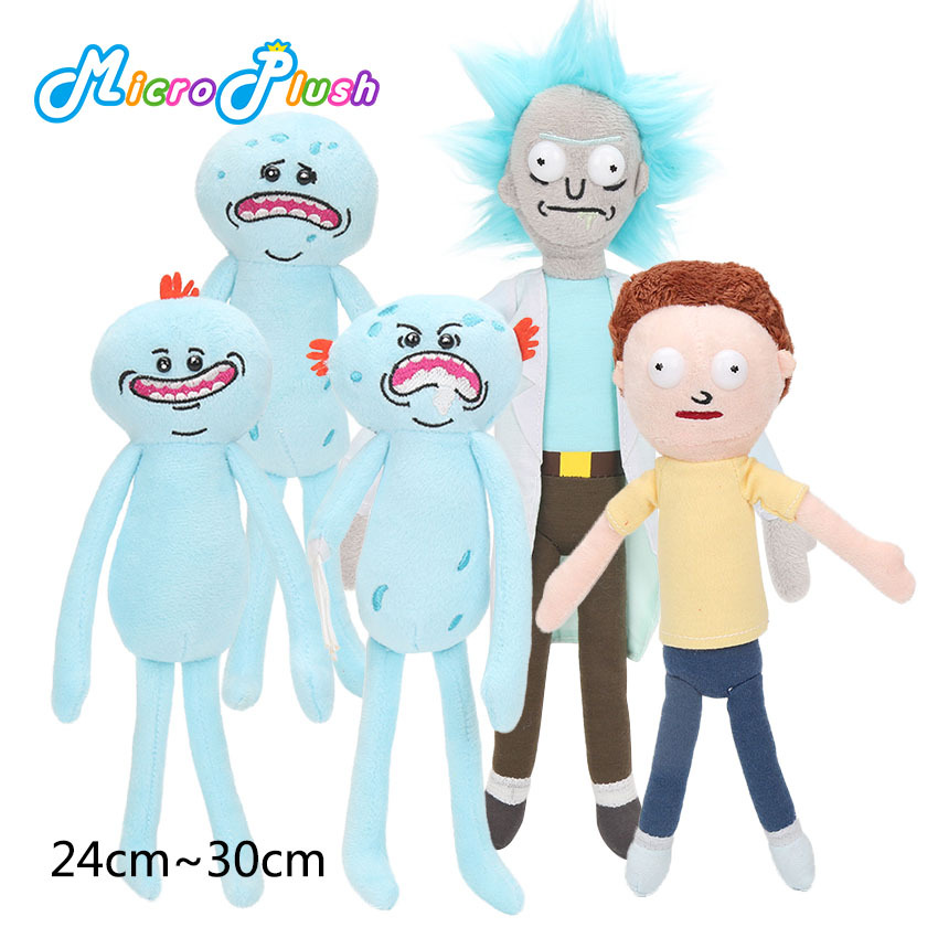 NEELUCKY 24cm-30cm Rick and Motley plush toys 4 facial expressions hat Madi plush doll toys childrens gifts