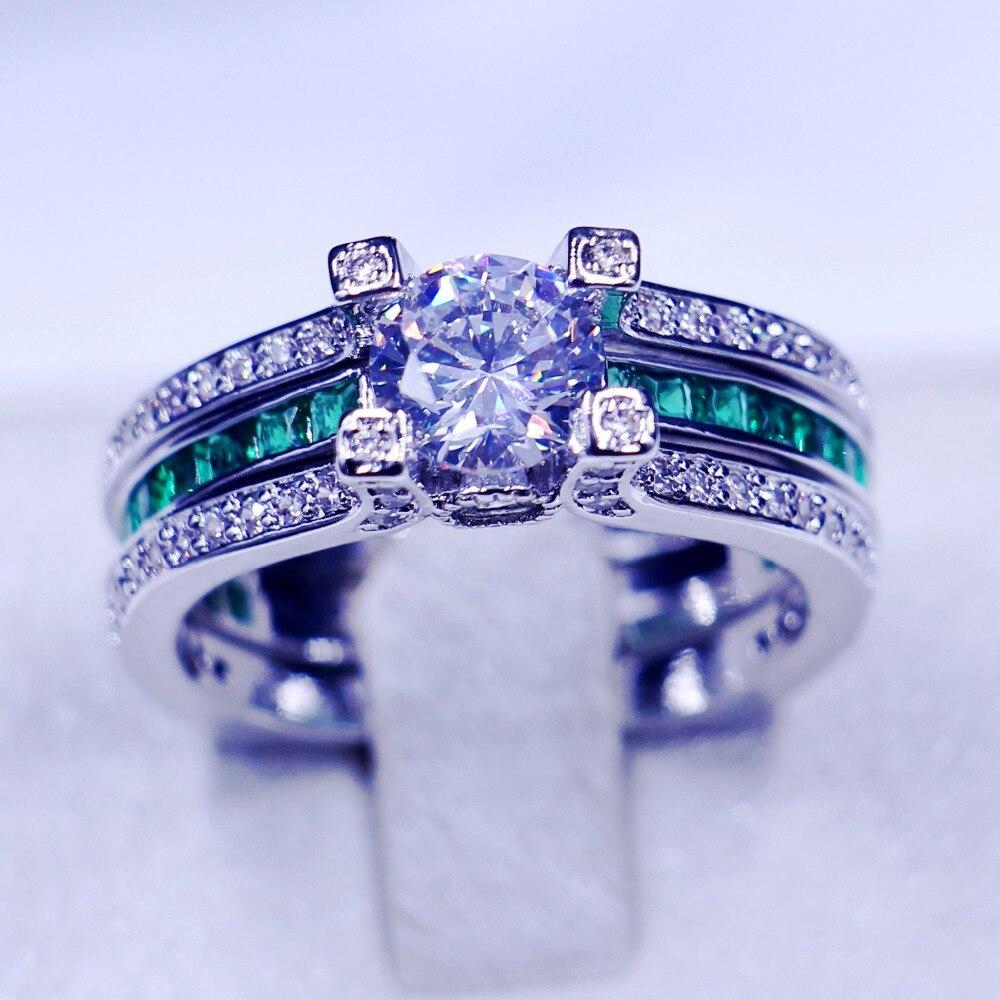 Vecalon feminino jóias de luxo anel de noivado verde aaaaa zircon cz 925 prata esterlina anel de casamento conjunto para mulher - 2