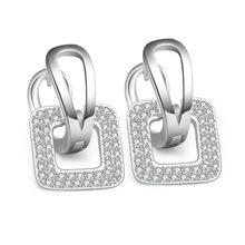 500Pair Unique Square Shaped Piercing Small Huggie Hoop Earring for Women Gold-color Earing Round
