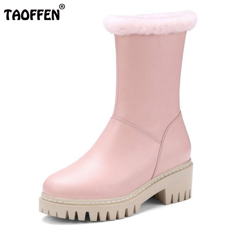 TAOFFEN Cold Winter Snow Shoes Women Real Leather Thick High Heel Mid Calf Winter Boots Women Warm Fur Snow Botas Size 34-39 недорго, оригинальная цена