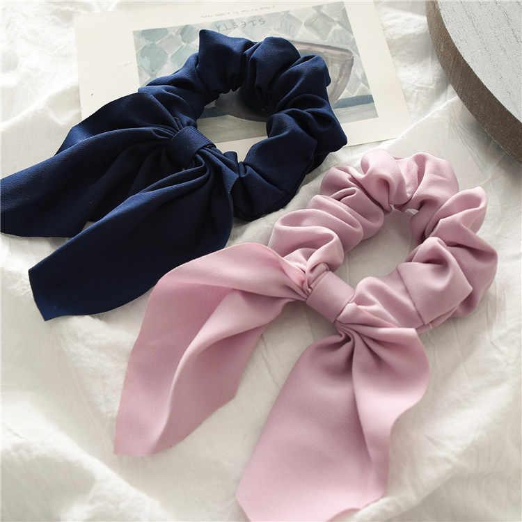 2019 ใหม่ชีฟอง Bowknot ผ้าไหมผม Scrunchies ผู้หญิงผู้ถือหางม้าผม Tie เชือกผมยางวงอุปกรณ์เสริมผม