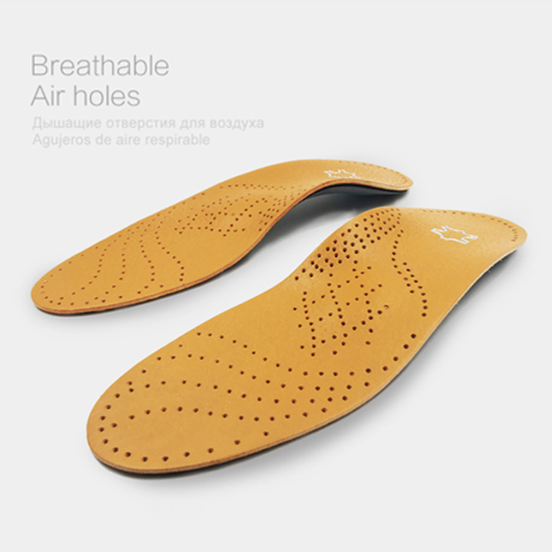EID High quality Leather orthotic insole for Flat Feet Arch Support orthopedic shoes sole Insoles for feet men and women OX Leg 1