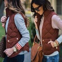Зимние Для женщин тонкий хлопковый теплый жилет пальто однотонная куртка без рукавов жилет 2018 Мода 5 цветов