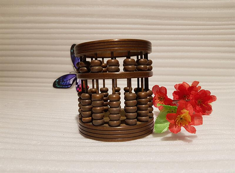 Chinese style vintage bronze brass abacus pen holder handmade ancient craft (3)