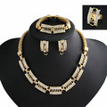 High Quality Clear Austrian Crystals Wedding bridal Gold Jewelry Sets African Women Necklace Sets