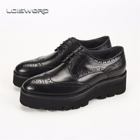 2014 Fashion Unique Black Brand Genuine Leather Men Dress Shoes Wedding Bridegroom Formal Platform Shoes Free