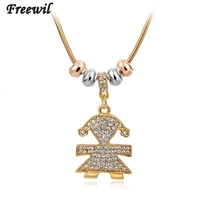 Low Vintage Girl Crystal Pendant & Necklace 2016 Gold Chain Drop Statement Necklace for Women Ethnic Jewelry SNE150768