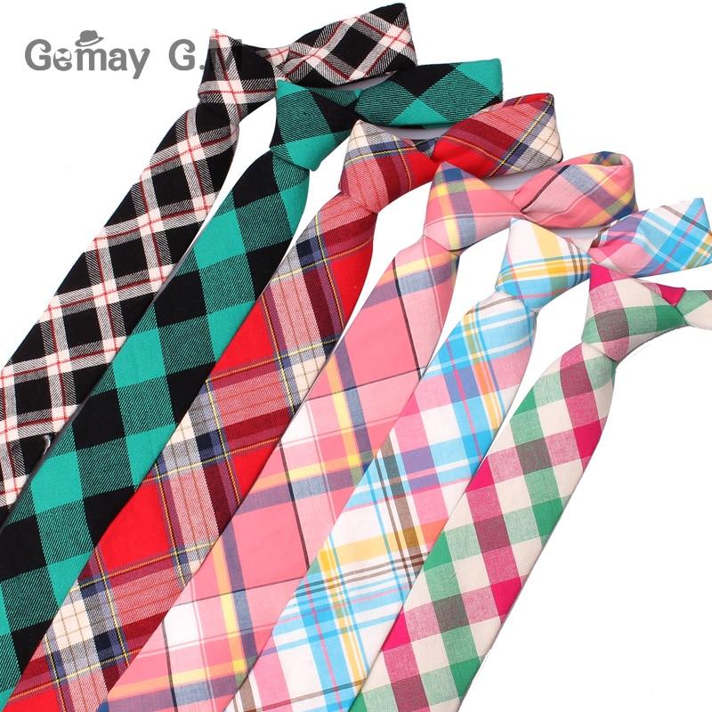 New Casual Plaid Ties For Men Narrow Cotton Necktie for Wedding Colorful Mens Neck Ties Business Tie Adult Cravat