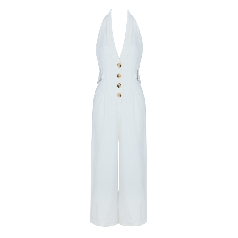 INDRESSME 2019 New Vestidos Women Sexy Deep V Halter Single Breasted Sleeveless Backless Party Summer Full Legs Jumpsuit in Jumpsuits from Women 39 s Clothing