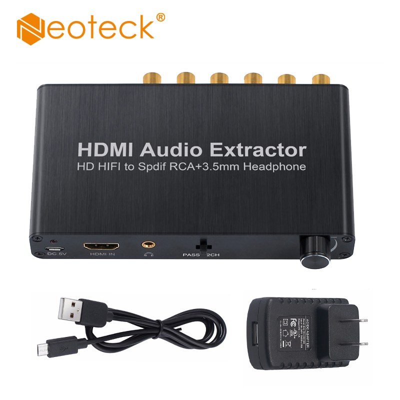 4K 30Hz 3D HDMI 1.4 Audio Extractor HDMI to HDMI Converter With Optical Toslink SPDIF to 5.1CH RCA 3.5mm Stereo Audio Output 3 in 1 out hdmi audio extractor splitter 4k arc hdmi switch box selector with optical spdif