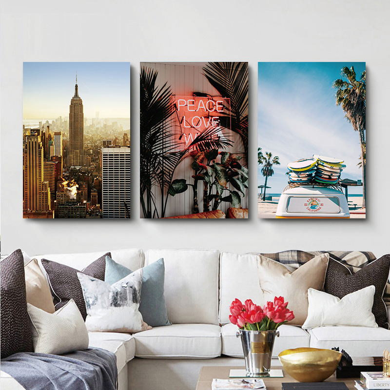 Scenery Landscape Wall Art Canvas Painting Bus Seaside Nordic Poster Building Wall Pictures For Living Room Home Decor Unframed in Painting Calligraphy from Home Garden