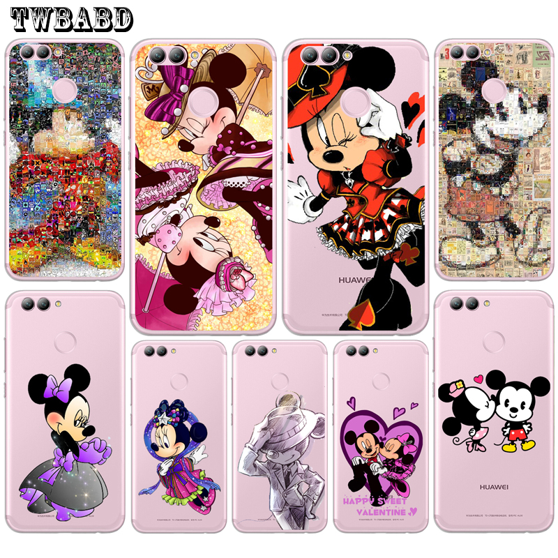 Cute Minnie Mouse Cool Mickey Case for Fundas Huawei P20 P10 P8 P9 Lite2017 Soft Cover For Y5 2017 Y6 II Pro Y7 Honor 9