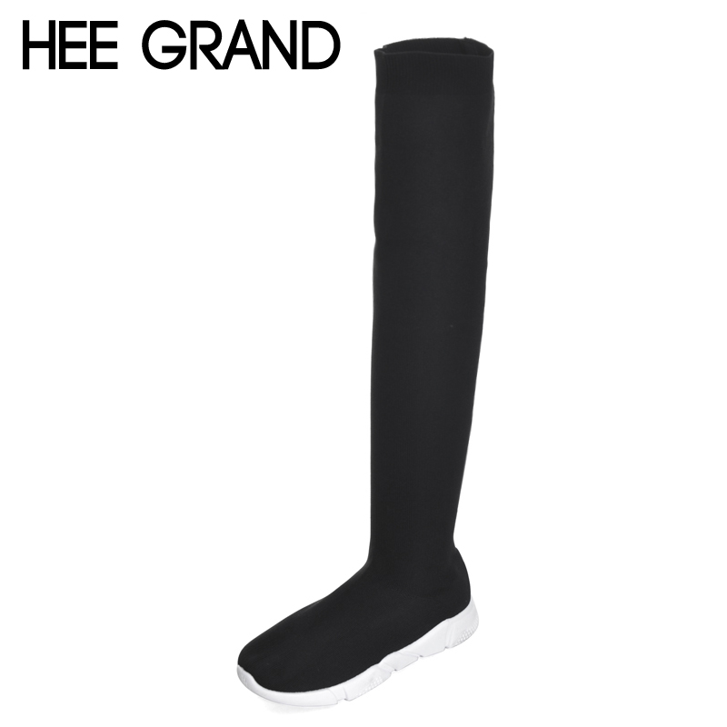 купить HEE GRAND Women High Boots Spinning Over-the-keen Boots Flat with Woman Slip-on Thick Low Heel Fashion Boots XWX6344 дешево