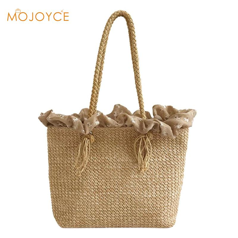 Female Round Rattan Straw Handbag Durable Weave Big Beach Bag Shoulder Bags Casual Bohemia Style Circle Travel Tote INS Popular