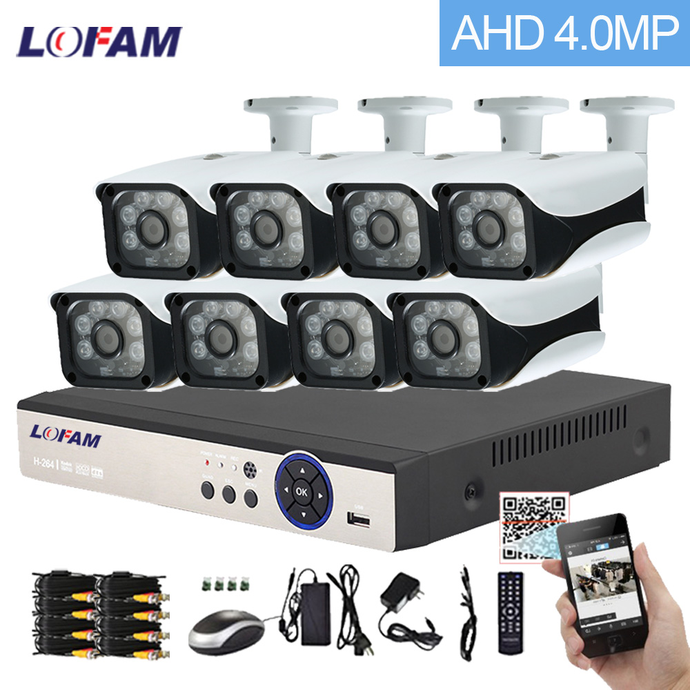 LOFAM 8CH AHD 4MP DVR NVR Outdoor Security Camera System 6 Leds Array Video Surveillance Bullet CCTV Camera Kit 8CH P2P App View